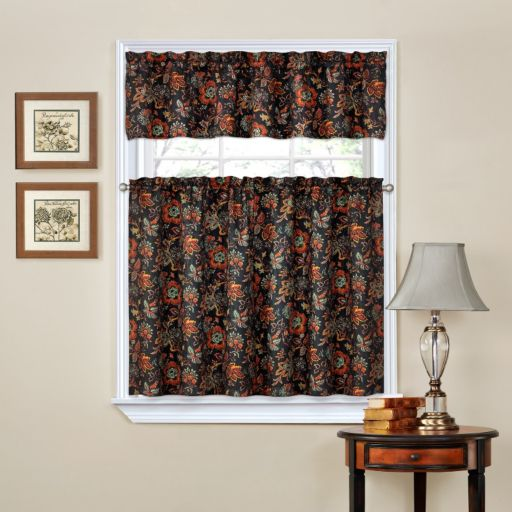 Traditions by Waverly Navarra Tier & Valance Kitchen Window Curtain Set
