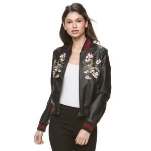 Juniors' Candie's® Floral Faux Leather Jacket