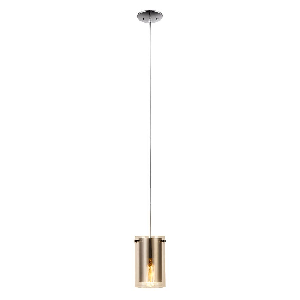 Catalina Lighting Chrome Finish Glass Pendant Lamp