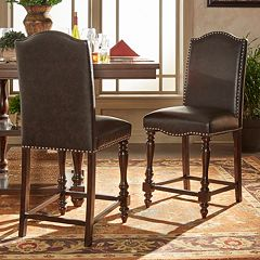HomeVance Ingram Nailhead Accent Counter Chair 2-piece Set