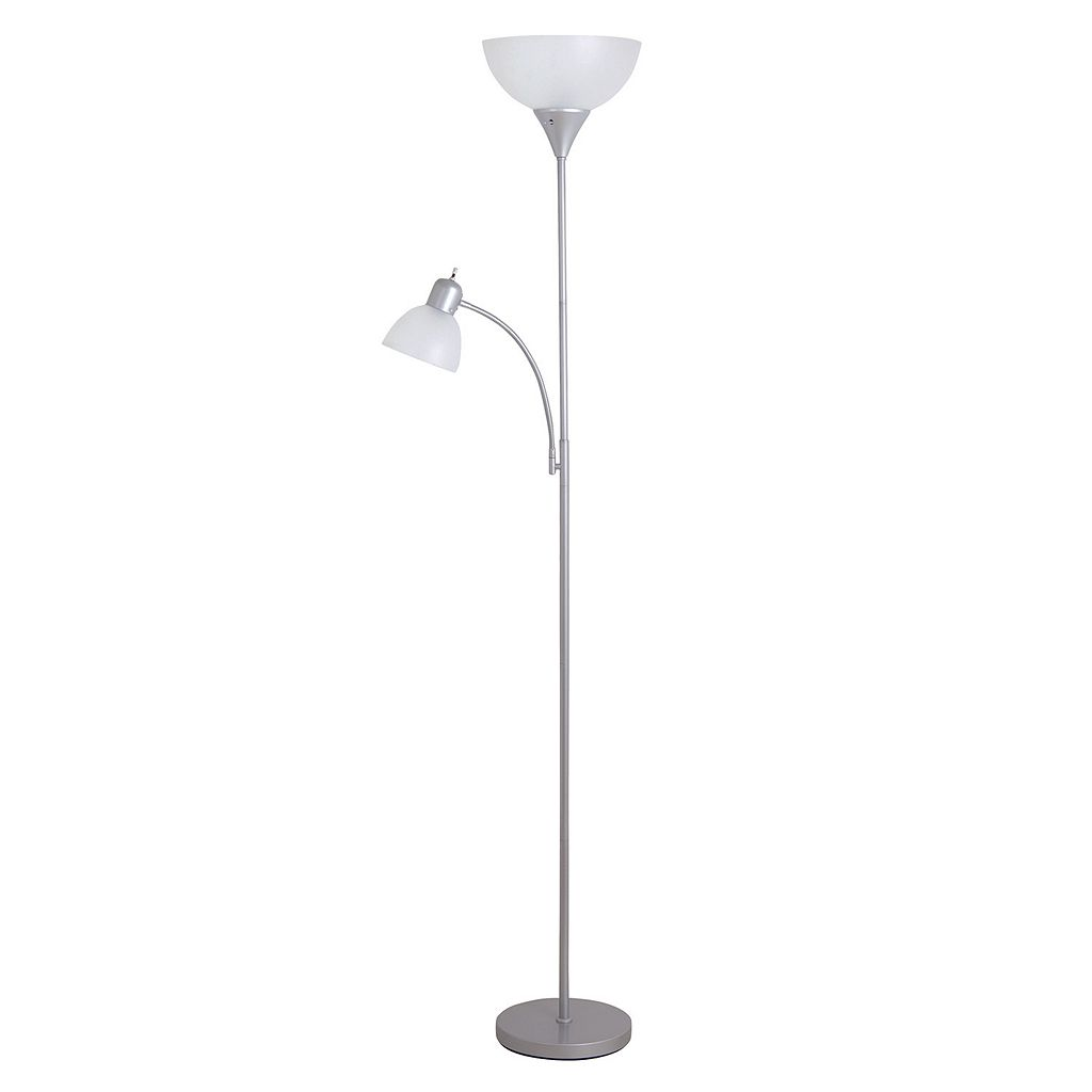 Catalina Lighting 2-Light Silver Finish Torchiere Floor Lamp
