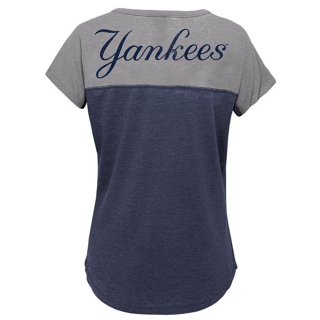 Girls 7-16 Majestic New York Yankees Ballpark Dolman Tee