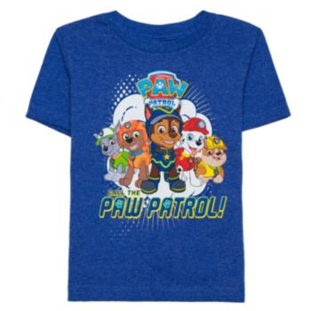 """Toddler Boy Chase, Marshall & Rocky """"Call the Paw Patrol"""" Blue Graphic Tee"""