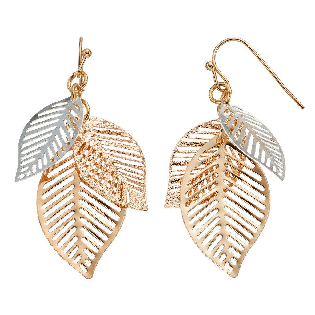 Tri Tone Leaf Cluster Drop Earrings