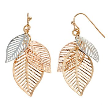 Tri Tone Leaf Cluster Drop Earrings