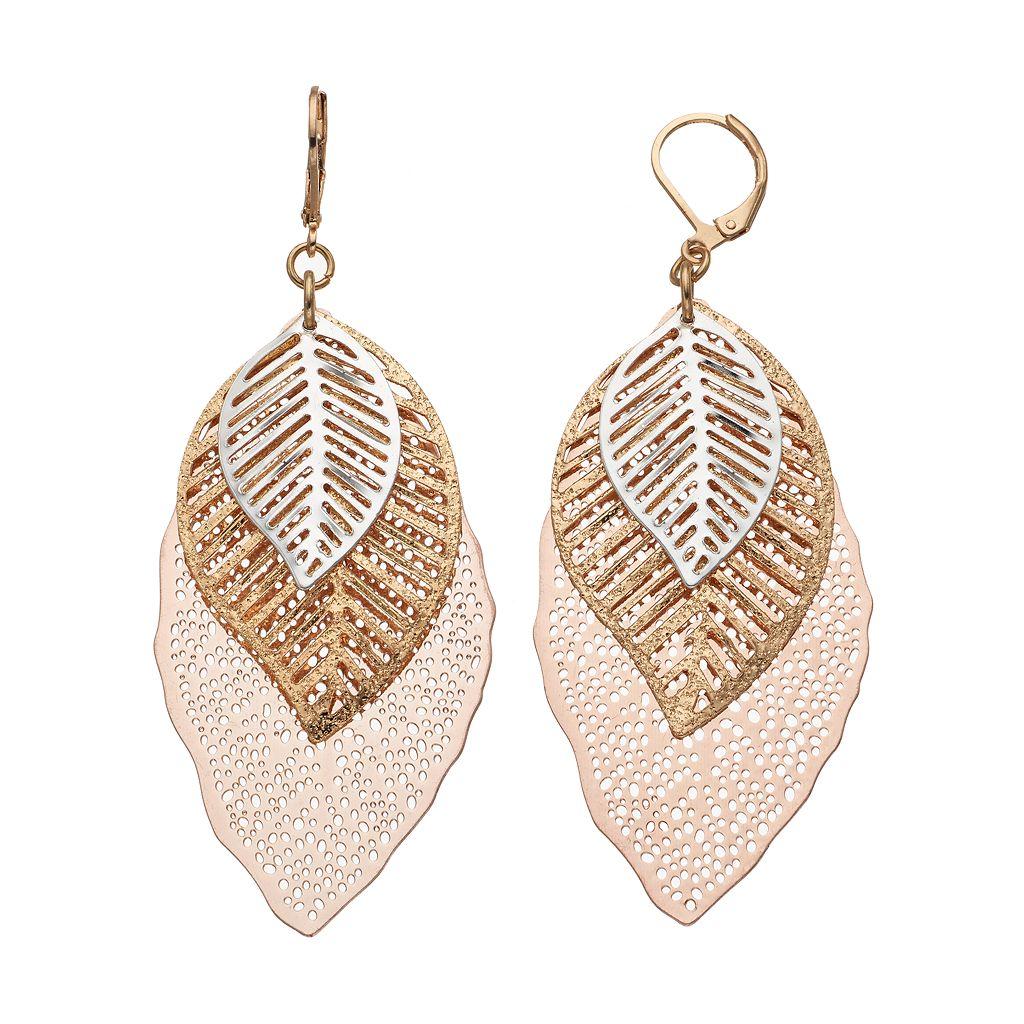 Tri Tone Openwork Leaf Drop Earrings