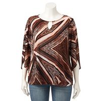 Plus Size Dana Buchman Printed Tulip-Sleeve Top