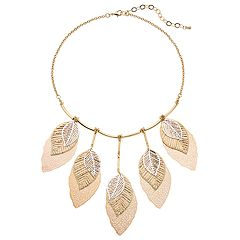 Tri Tone Openwork Leaf Statement Necklace