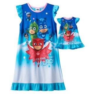 """Girls 4-8 PJ Masks Catboy, Owlette & Gekko """"It's Time To Be A Hero"""" Dorm Nightgown & Doll Gown Set"""