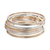 Tri Tone Textured Bangle Bracelet Set