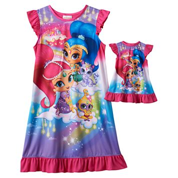 Girls 4-10 Shimmer & Shine Genies Dorm Nightgown & Doll Gown Set