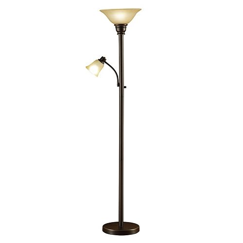 Catalina Lighting 2-Light Bronze Finish Torchiere Floor Lamp