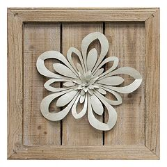 Cutout Metal Flower Planked Wood Wall Art