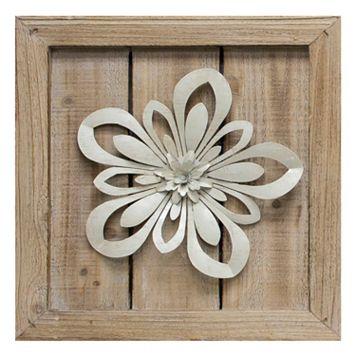 Cutout Metal Flower Planked Wood Wall Art