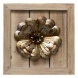 Metal Flower Planked Wood Wall Art