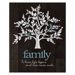 'Family' Tree Farmhouse Planked Wood Wall Art
