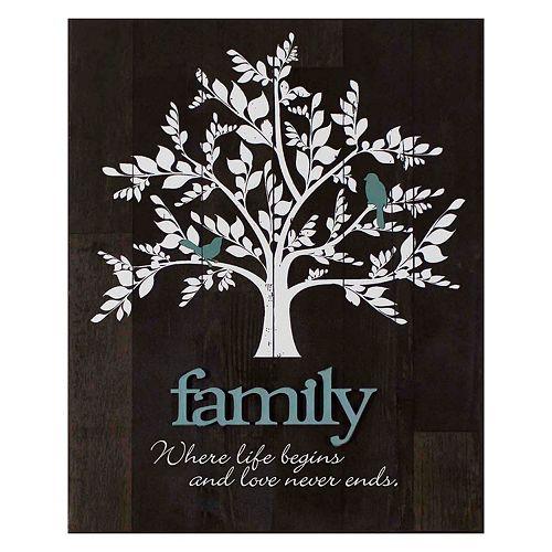 """""""Family"""" Tree Farmhouse Planked Wood Wall Art"""