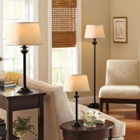 Catalina Lighting Black Floor Lamp & Table Lamp 3-piece Set