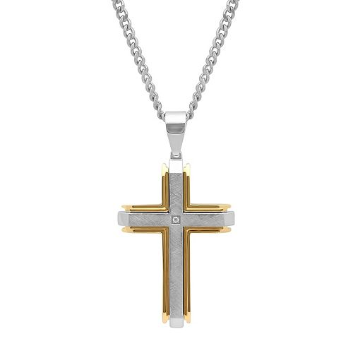 Men's Two Tone Stainless Steel Cross Pendant Necklace