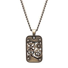 Men's Stainless Steel Gear Dog Tag Necklace