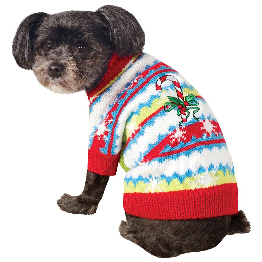 Pet Ugly Christmas Sweater with Candy Canes Costume