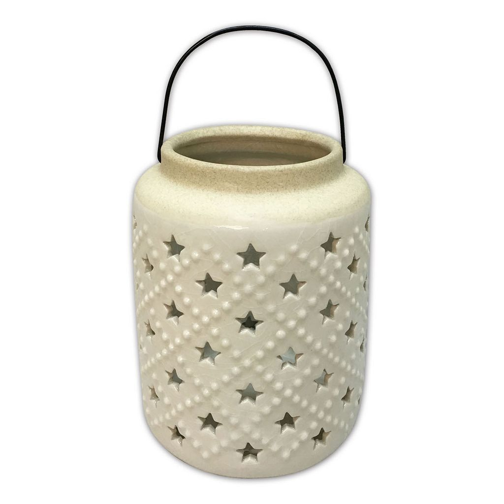 Celebrate Americana Together White Star Ceramic Lantern