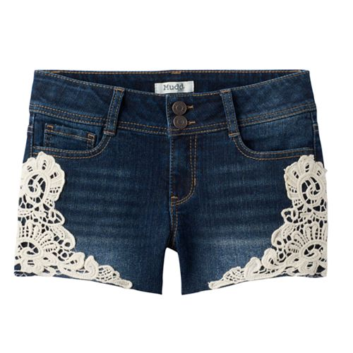 7-16 & Plus Size Mudd® Crochet Trim Dark Wash Jean Shorts