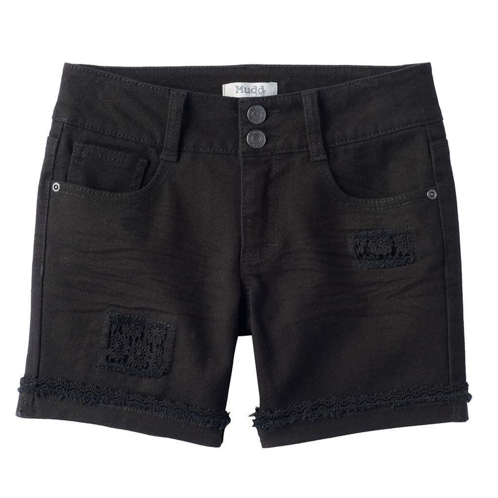 Girls 7-16 & Plus Size Mudd® Crochet Patch Black Jean Shorts