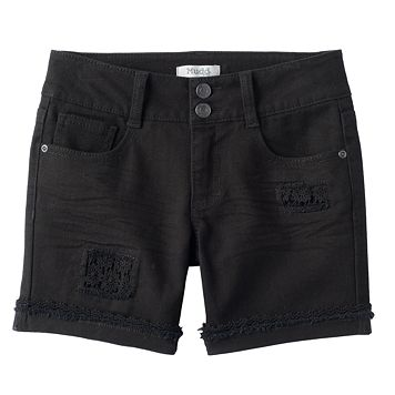Girls 7-16 & Plus Size Mudd® Crochet Patch Black Jean Shorts