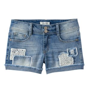 Girls 7-16 & Plus Size Mudd® Crochet Patch Destructed Jean Shorts