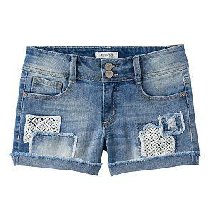 Girls 7-16 & Plus Size Mudd® Crochet Patch Destructed Jean Shorts