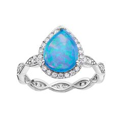 Sophie Miller Sterling Silver Lab-Created Blue Opal & Cubic Zirconia Pear Ring