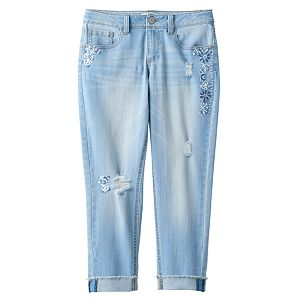 Girls 7-16 & Plus Size Mudd® Embroidered Cropped Capri Jeans