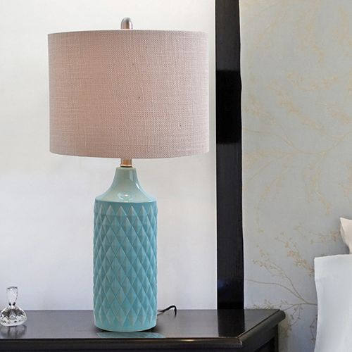 Catalina Lighting Textured Geometric Ceramic Table Lamp
