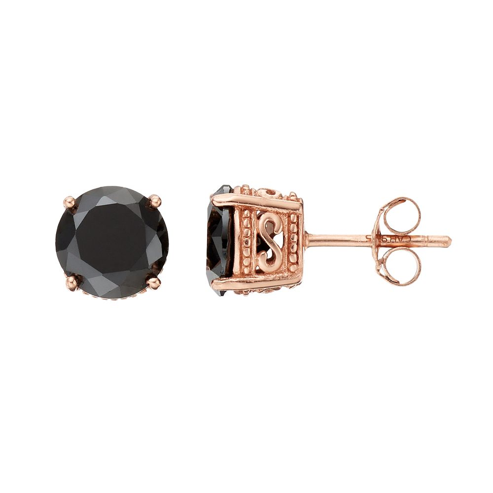 Sophie Miller 14k Rose Gold Plated Black Cubic Zirconia Stud Earrings