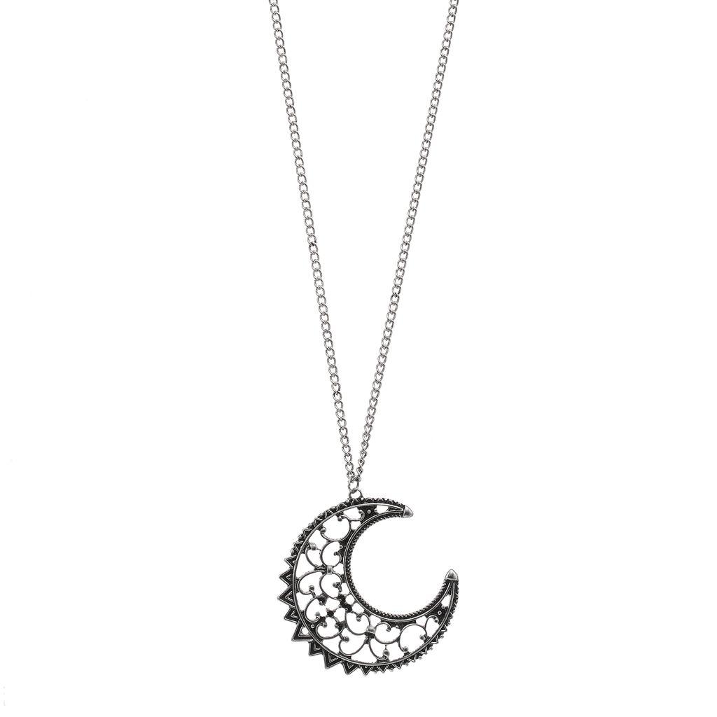 Mudd® Long Filigree Crescent Moon Pendant Necklace