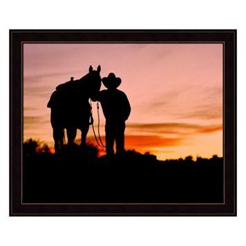 Cowboy Sunset Framed Wall Art