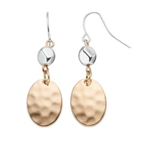 Chaps Two Tone Hammered Nickel Free Drop Earrings