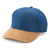 Women's Mudd® Denim & Faux Suede Baseball Hat