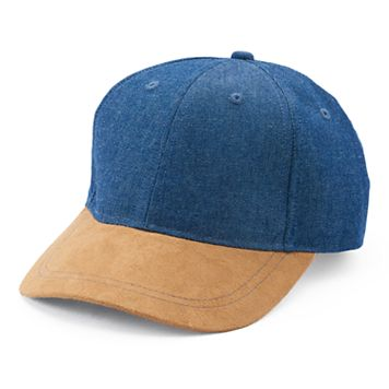 Women's Mudd® Denim & Faux Suede Baseball Hat