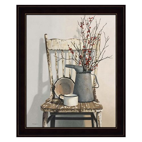 Watering Can On Chair Framed Wall Art