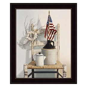 Chair With Jug And Flag Framed Wall Art