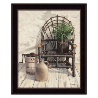 Wicker Chair With Ice Cream Churn Framed Wall Art