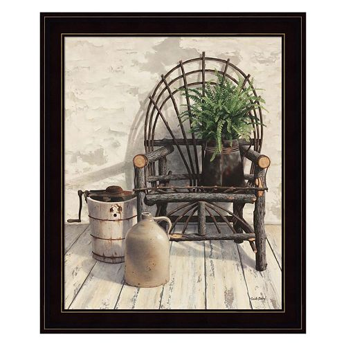 Wicker Chair With Ice Cream Churn Framed Wall Art