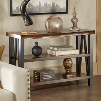 HomeVance Ackerly Mixed Media Rustic Console Table