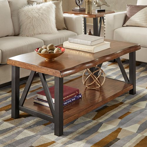 HomeVance Ackerly Mixed Media Rustic Coffee Table