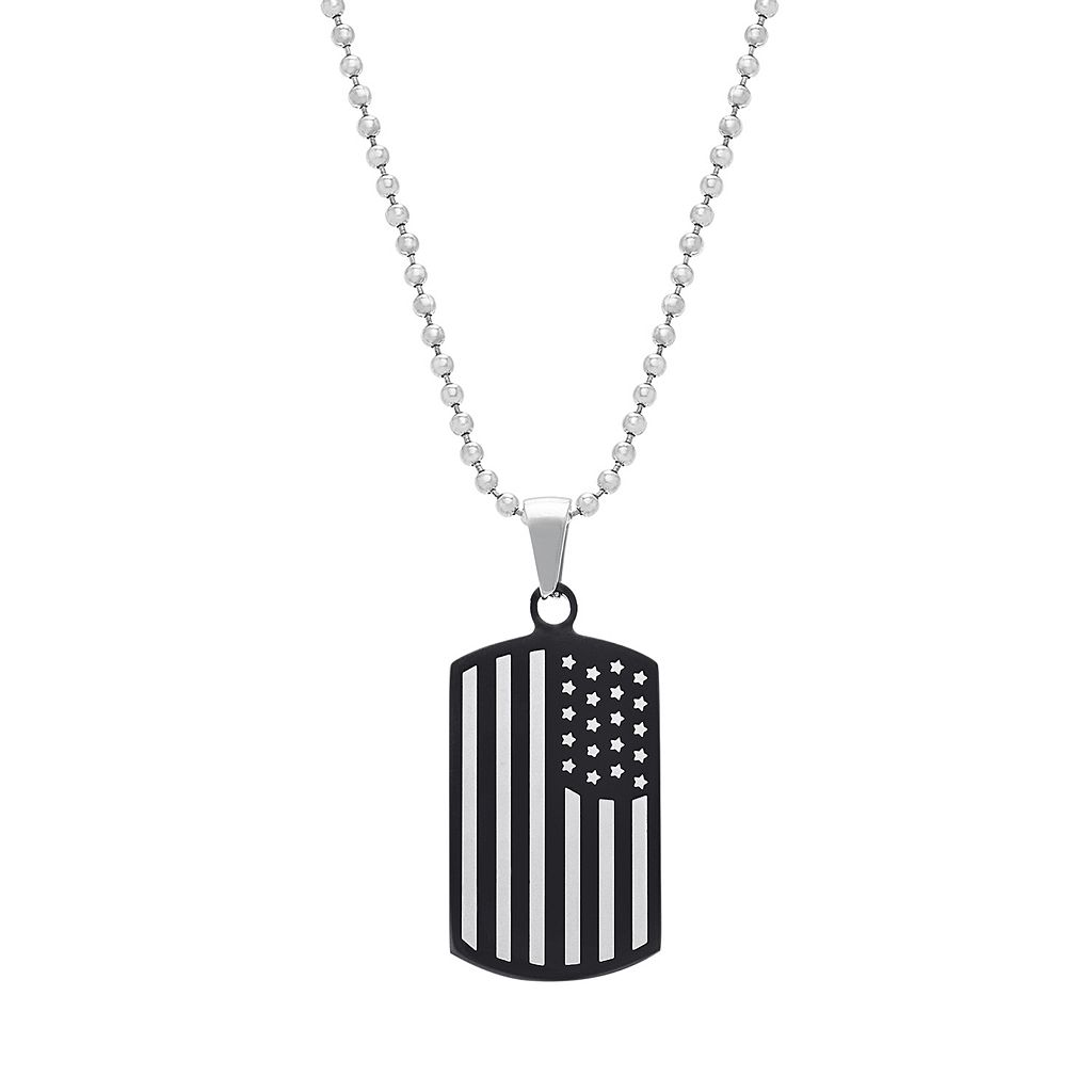 1913 Men's Two Tone Stainless Steel American Flag Dog Tag Necklace