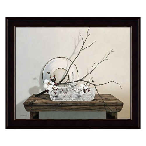 Wire Basket With Cotton Framed Wall Art