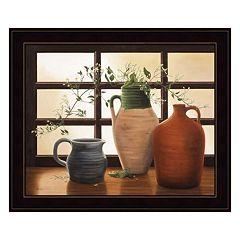 Olive Jar With Flowering Vine Framed Wall Art