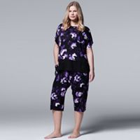 Plus Size Simply Vera Vera Wang Pajamas: Late Bloomers Top & Capris PJ Set